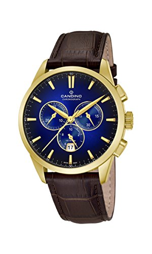 Candino Mens Chronograph Quartz Watch with Leather Strap C4518/7