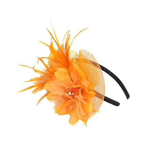 TUDUZ Damen Fascinators Hut Blume Mesh Bänder Federn auf Einem Stirnband und Einem Geteilten Clip Cocktail Tea Party Headwear Braut Kopfschmuck Hochzeit Cocktail Jockey Club(,F-Orange)
