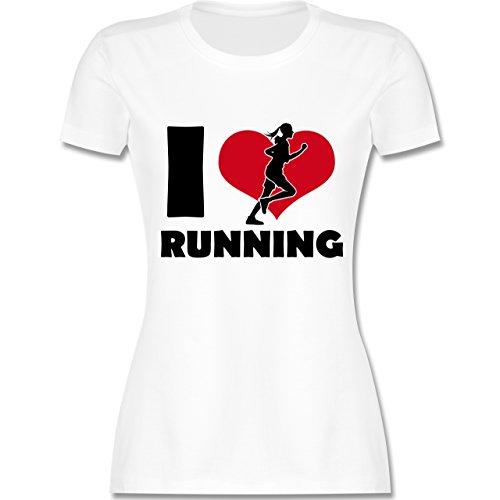 Laufsport - I Love Running - tailliertes Premium T-Shirt mit Rundhalsausschnitt für Damen Weiß