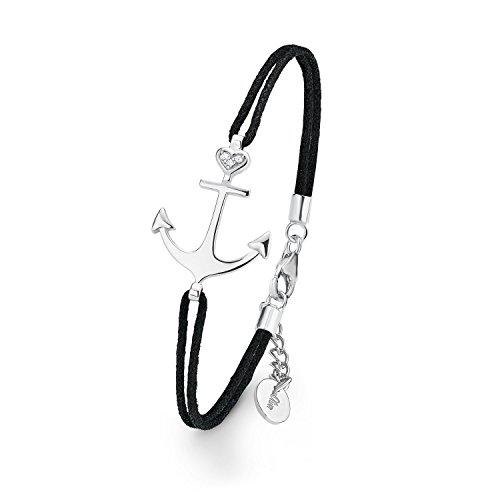 s.Oliver Damen Armband 925 Sterling Silber Nylon schwarz Zirkonia weiß