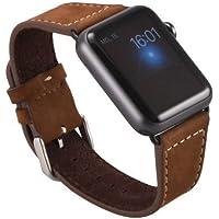 Apple Watch Lussuoso braccialetto / Cinturino dell'orologio con chiusura strap, in vera pelle scamosciata con Pregiato cinturino per orologio nero / Adattatore per orologio / Connettore strap con chiusura di metallo 38 mm Basic, Sport, Edition - in marrone di