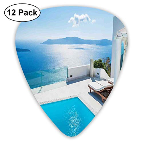 Celluloid Guitar Picks - 12 Pack,Abstract Art Colorful Designs,Architecture On Santorini Island Greece Swimming Pool Blue White Hotel Sea View,For Bass Electric & Acoustic Guitars. -