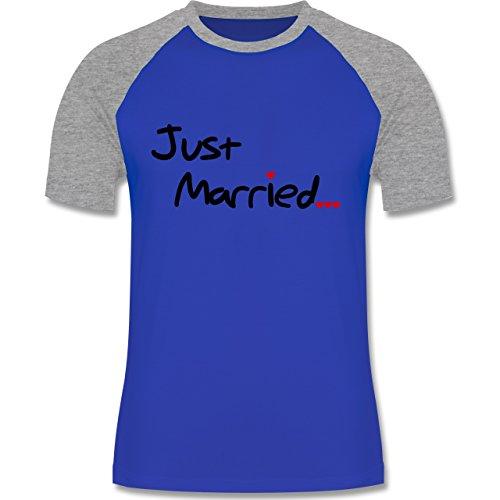 JGA Junggesellenabschied - Just Married - zweifarbiges Baseballshirt für Männer Royalblau/Grau meliert