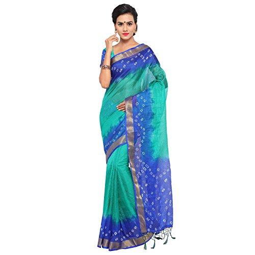 Rajnandini Women's Kota Cotton And Silk Printed Saree(JOPLSRS1024O_Green And Blue_Free Size)