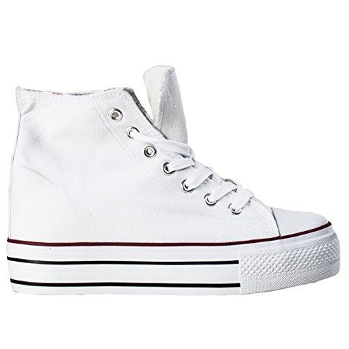Toocool - Scarpe Donna Ginnastica Sneakers Alte Sport Tela Lacci Zeppa Interna Nuove NG501[Bianco,39]