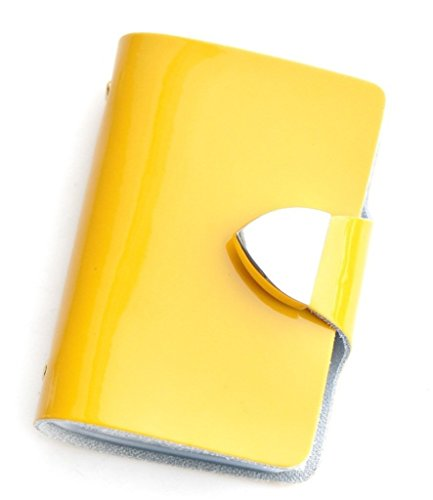 Brilliance Co Porte-Cartes (visite, Crédit, Fidélité) en Croûte de Cuir - Fermeture par bouton pression - (Contenance : 26 cartes) (Jaune - Cuir Verni)