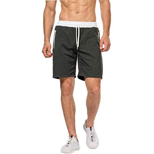 Selenechen short da uomo sport jogging e allenamento fitness pantaloncini pantaloni jogging pantaloni bermuda cerniera lampo tasch (grigio scuro, l)