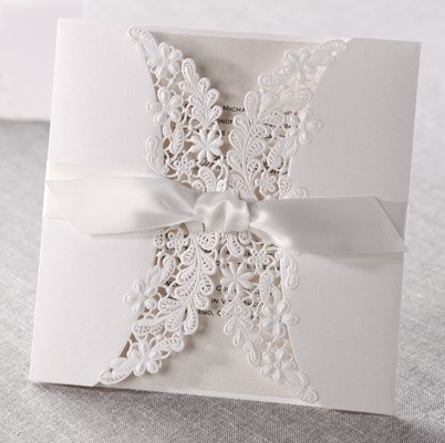 12 Laser cut flora & lace wedding invitations with ribbons (with 12pcs matching RSVP)