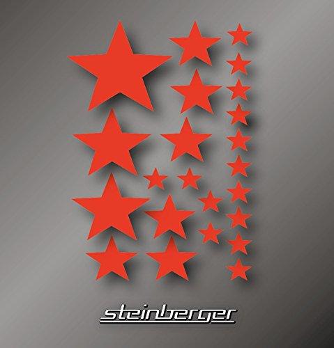 Sticker Aufkleber Bogen Set Sterne Stars 22 Stück verschiedene Größen und Farben (22 Sterne, rot)