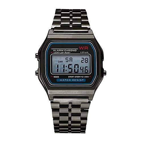 Herren Uhren LED Digital Wasserdichte Sport Armbanduhren, Bloodfin Mesh Strap Damenuhren Watches Quarzuhr mit Edelstahl Uhrenarmbänder Schnalle Geschenk Männer Mann (Schwarz)