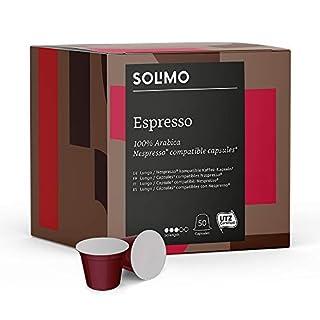 Marque Amazon- Solimo Capsules Espresso, compatibles Nespresso*- café certifié UTZ, 100 capsules (2 x 50)