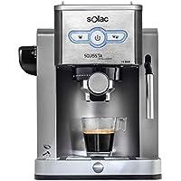 Solac New Squissita Intelligent - Cafetera (19 bar de presión, control electrónico, bandeja calienta tazas), plata