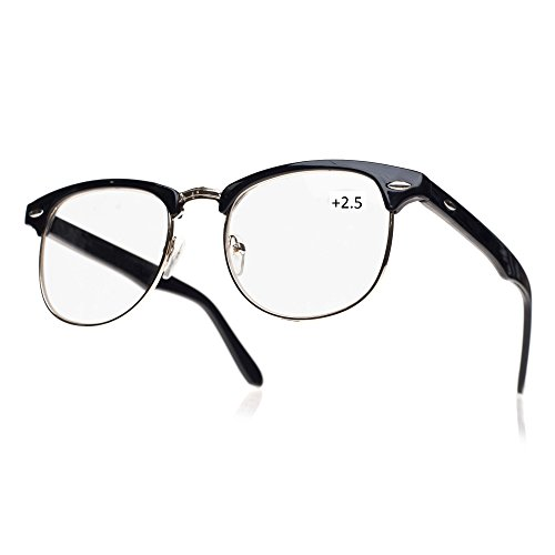 morefaz New Unisex (Damen Herren) Retro schwarz +2.5 Lesebrille Brille Wayfarer Clubmaster (TM) (+2.5 Retro Black)