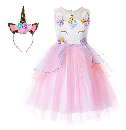 Le SSara Unicorn Kostüm Kleider Pageant Party Kleider Blumenabende Kleider Tutu Dress (90, E34-pink)