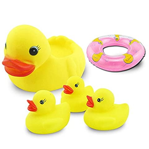 Moncare 5 Pieces Small Yellow Duck BIBI Sound Calm Toy Model For Kids Baby