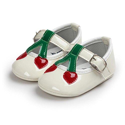 kingko® Moderne Baby Kleinkind SchuheBaby Kirsche Prinzessin Soft Sohle Schuhe Kleinkind Turnschuhe Freizeitschuhe Weiß