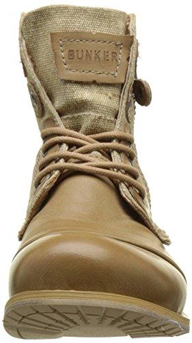 Bunker Damen Zip Biker Boots Beige (Taupe)