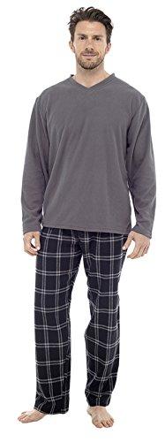 2-teiliger Luxus Herren-Pyjama, volle Länge, warmes Winter-Set, Thermo-/Jersey-Top, Flanellhose Gr. XX-Large, Grau kariert