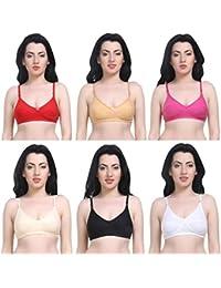 Magnet Bra for Women Combo Pack of 6/Bra Combo Pack of 6 Full Coverage Non-Padded Multicolor Everday Cotton Bra