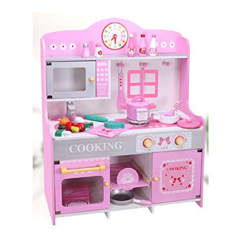 XCXDX Rosa Hölzerner Großer Küchenspielzeugsatz, Kindergartengeschenk Der Kinder, Nachahmungskochspiel, Schönes Muster