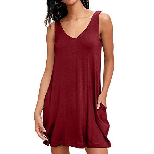 Baumwolle Mini-kleid (Sommerkleid Damen Lose Casual Baumwolle Strandkleid àrmellos Mini T-Shirt Kleid Rundhals Kleider, Weinrot, L)