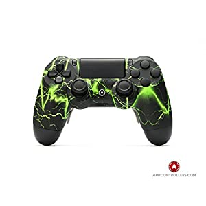 PS4 Slim DualShock 4 PlayStation 4 Wireless Controller – Custom AimController Storm Green with 4 Paddles. Upper Left…