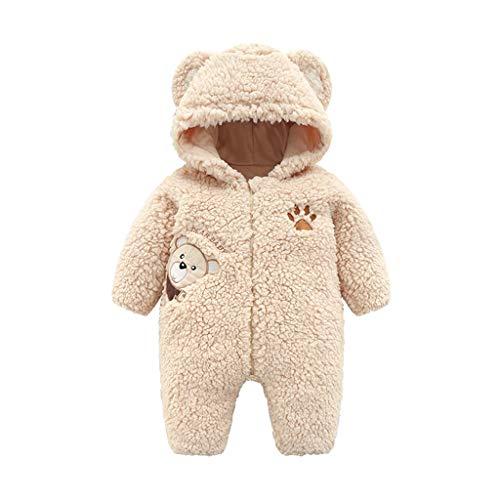 Plüsch-Overall Baby Unisex, 0-12 Monate Neugeborenes Jungen Mädchen Strampler Spielanzug Warme Jumpsuit mit Kapuzen und Zipper, Winter Säugling Spielanzug Schlafanzug Outfit (0-3 Monate, Beige) - 2 Stück Fleece-schlafanzug