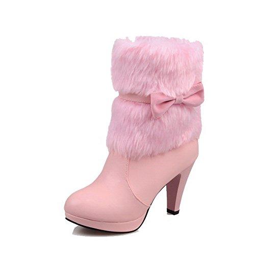 AllhqFashion Damen PU Leder Mitte-Spitze Rein Ziehen auf Inner Hohe Absatz Stiefel, Weiß, 38
