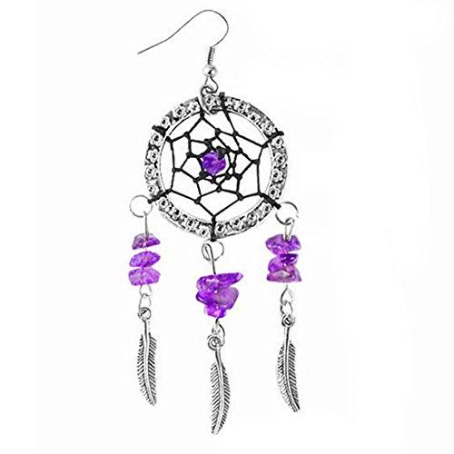 Traumfänger Feder Baumeln Ohrringe Girl 's Vintage Hollow Drop Navajo Zuni Style Ohrring für Damen-Schmuck (Gypsy Rose Moda)