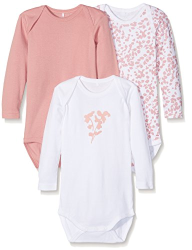 NAME IT Baby-Mädchen Body NMFBODY 3P LS Rose TAN NOOS, 3er Pack, Mehrfarbig, 80