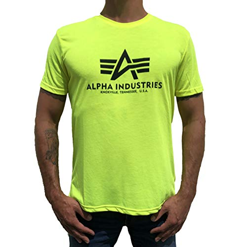 Alpha Industries T-Shirt Basic viele Farben (XXL, Neon/Yellow) - Farbe Logo-t-shirt