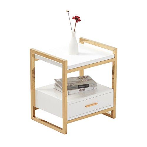 XiaoXIAO XX- Nachttisch Nachttisch - Sofa Corner Tisch Schreibtischlampe Tisch Iron Tee Tisch Gold Farbe Rahmen Solid Wood Square Cabinet | Schwarz Weiß Größe -50x40x50CM ^ * ^ (Color : White)