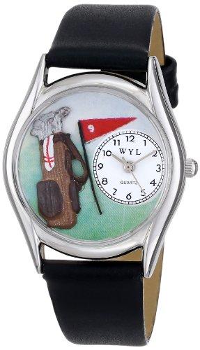Skurril Uhren Golf Bag Schwarz Leder und Silvertone Unisex Quarzuhr mit weißem Zifferblatt Analog-Anzeige und-Lederband s-0820010