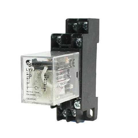 sourcingmap® AC 12V Torsadés 8 Broches DIN Rail électromagnétique Relais De Puissance 8 broches 5 A LY2J Base de