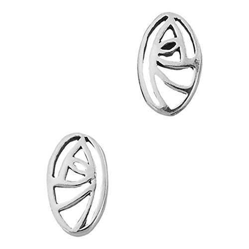 Charles Rennie Mackintosh Silver Plated Stud Earrings - Oval Glasgow (Rennie Mackintosh Gioielleria)