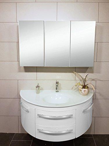 #SAM® 2tlg. Montagsbad Badmöbel-Set, 120 cm, 2. Wahl Designer-Badset mit abgerundetem Waschplatz mit Softclose-Funktion, in weiß mit dreiteiligem Spiegelschrank [521065]#