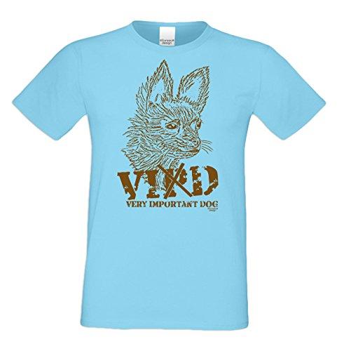 Katzen-T-Shirt für Herren / Tier-Freunde als tolle Geschenk-Idee bis Größe 5XL / Print-Katzenmotiv: VID Farbe: hellblau Hellblau