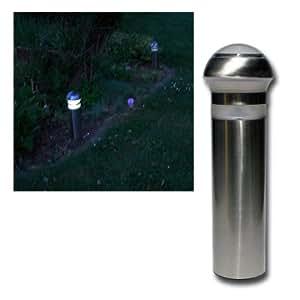 4 lampade paletti da giardino ad energia solare con sensore crepuscolare 26 cm - Lampade giardino energia solare offerte ...