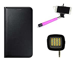 MuditMobi™ Quality Leather Flip Case Cover With Selfie Stick & Selfie Flash Light For Gionee F103 Pro-Black
