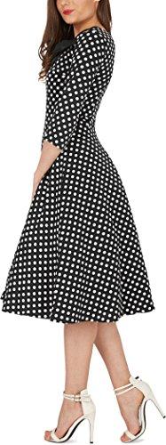'Iris' 50's Polka-Dots Kleid mit besetztem Ausschnitt - 2