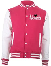 I Love Gymnastics Pink and White Varsity Letterman Jacket 5-15 Years