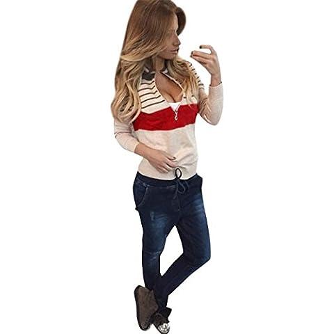 Xinantime Maniche Lunghe Cappotto Basic Felpe con cappuccio Donna Zipper Closure Crop Top Coat Sport Pullover Tops