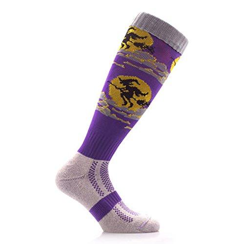 (Samson Strumpfwaren® Moonlight Hexe Halloween Knie Hohe Socken Neuheit Party Funky Thema Kinder Damen Herren Gr. M, violett)
