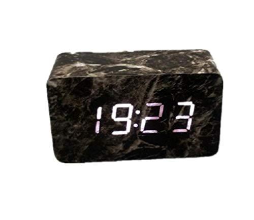 QWE Wecker Marmor Muster Led Wecker Schlafzimmer Schwere Schlaf Sprachsteuerung Nachtlicht Digitaluhr,Schwarz,A