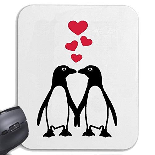 Helene Mousepad (Mauspad) VERLIEBTE Pinguine Liebe - Valentinstag - Liebe - Hochzeit - VERLOBUNG für ihren Laptop, Notebook oder Internet PC (mit Windows Linux usw.) in Weiß