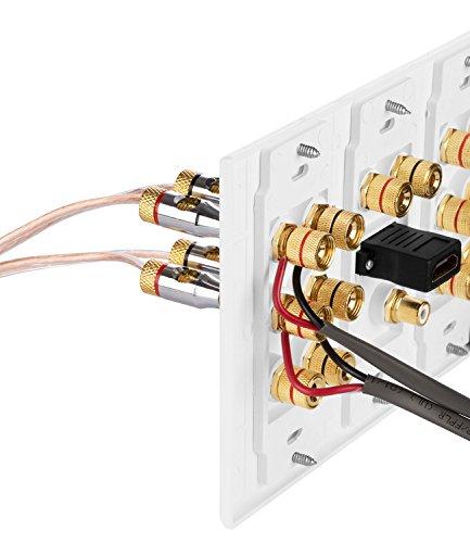 Fosmon HD8005 [3-teilig, 6.1 Surround Distribution] Anschlusstafel für Heimkino, Kupferanschlüsse, Polklemmen, Bananenstecker - 6