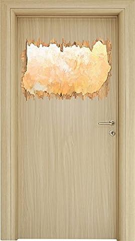 Romantische Blumenwiese Pinsel Effekt Holzdurchbruch im 3D-Look , Wand- oder Türaufkleber Format: 62x42cm, Wandsticker, Wandtattoo, Wanddekoration