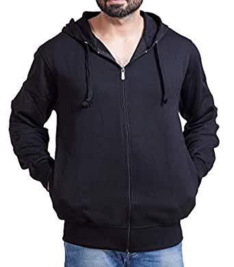 ADBUCKS Winter Wear Hood with Zipper Cotton Jacket (Medium, Black)