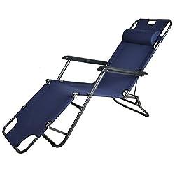 Kawachi Easy Folding Comfort Reclining Chair-Dark Blue