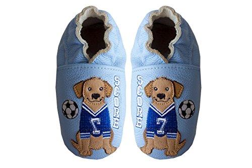 Rose & Chocolat Soccer Dog Blue, Chaussons Bébé Garçon
